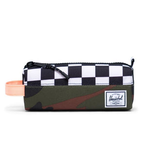 10071-03898-OS -Herschel Settlement Case - Woodland Camo/Black & White Checker/Neon Orange Pencil Case Herschel