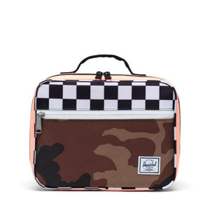 10227-03898-OS- Herschel Pop Quiz Lunch Box - Woodland Camo/Black & White Checker/Neon Orange Lunch Box Herschel