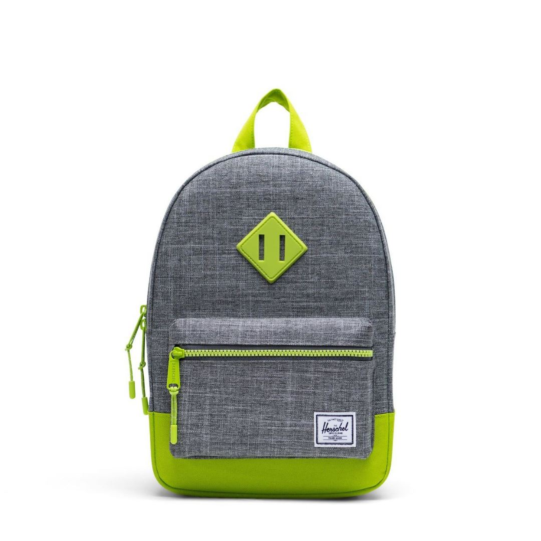 10313-03024-OS -Herschel Kids Heritage - Raven Crosshatch/Lime Green Backpack Herschel