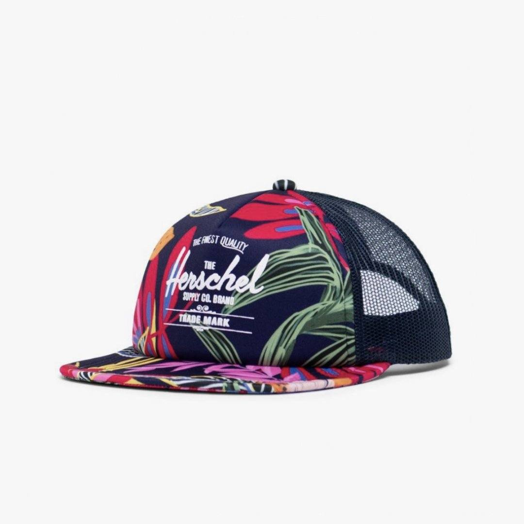 1122-1239-OS Herschel Whaler Cap - Jungle Floral/Peacoat Peony (5+ Years) Hats Herschel