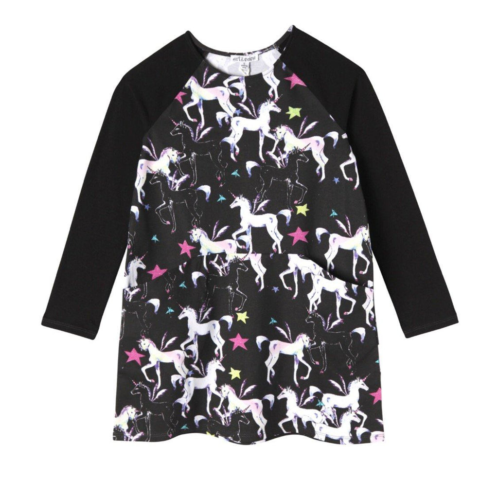 1422 - Art & Eden Organic Cotton Unicorns Girls Dress Dress Art & Eden