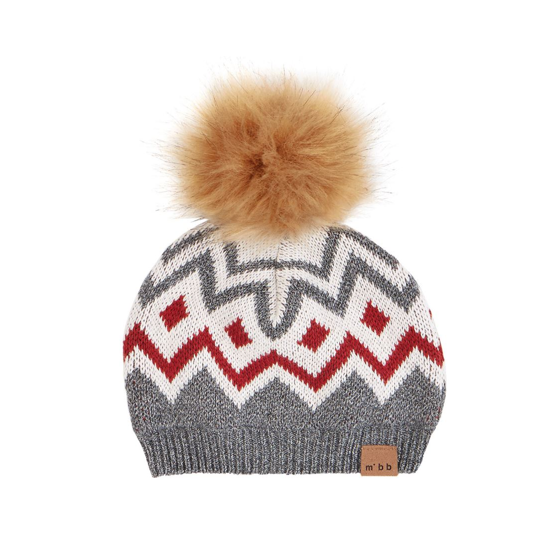 18FM18Y499 Miles Baby - Heather Grey Fair Isle Knit Pom Pom Hat Hats Miles Baby