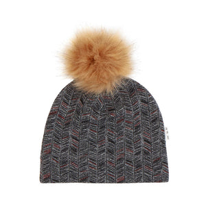 18FM18Y501 Miles Baby - Medium Heather Grey Pine Needles Knit Pom Pom Hat Hats Miles Baby