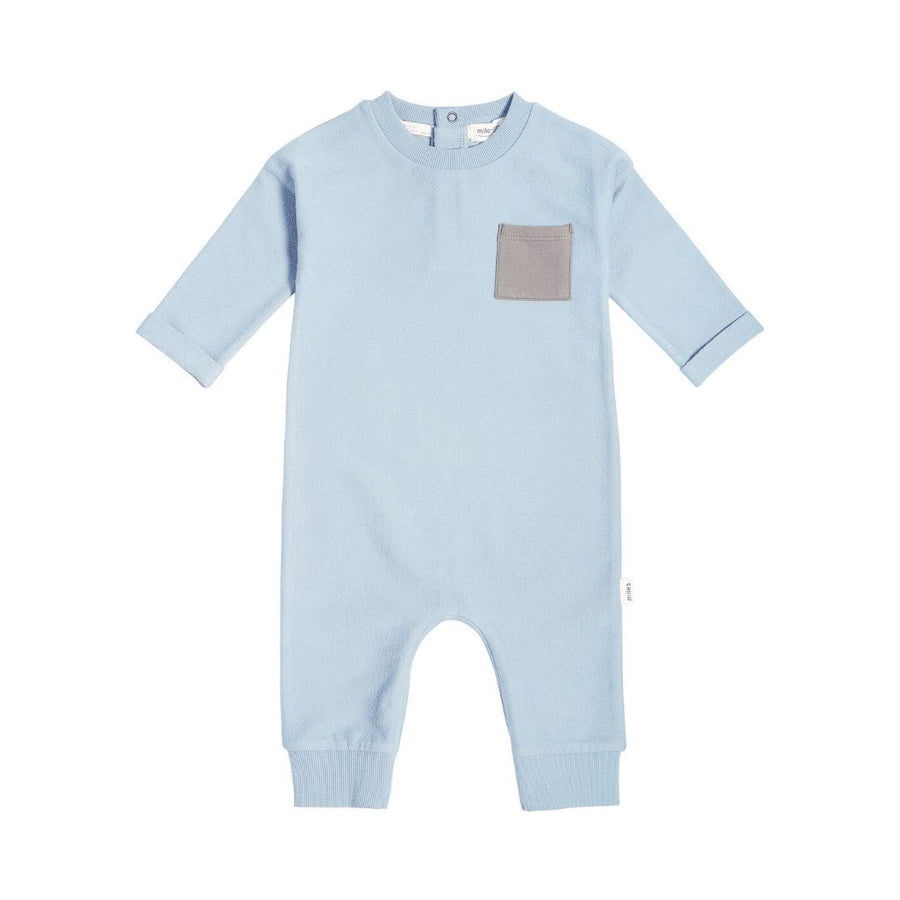 19FM40L814 - MILES BABY Unisex Baby Playsuit - Light Blue Jumpsuits / Rompers Miles Baby