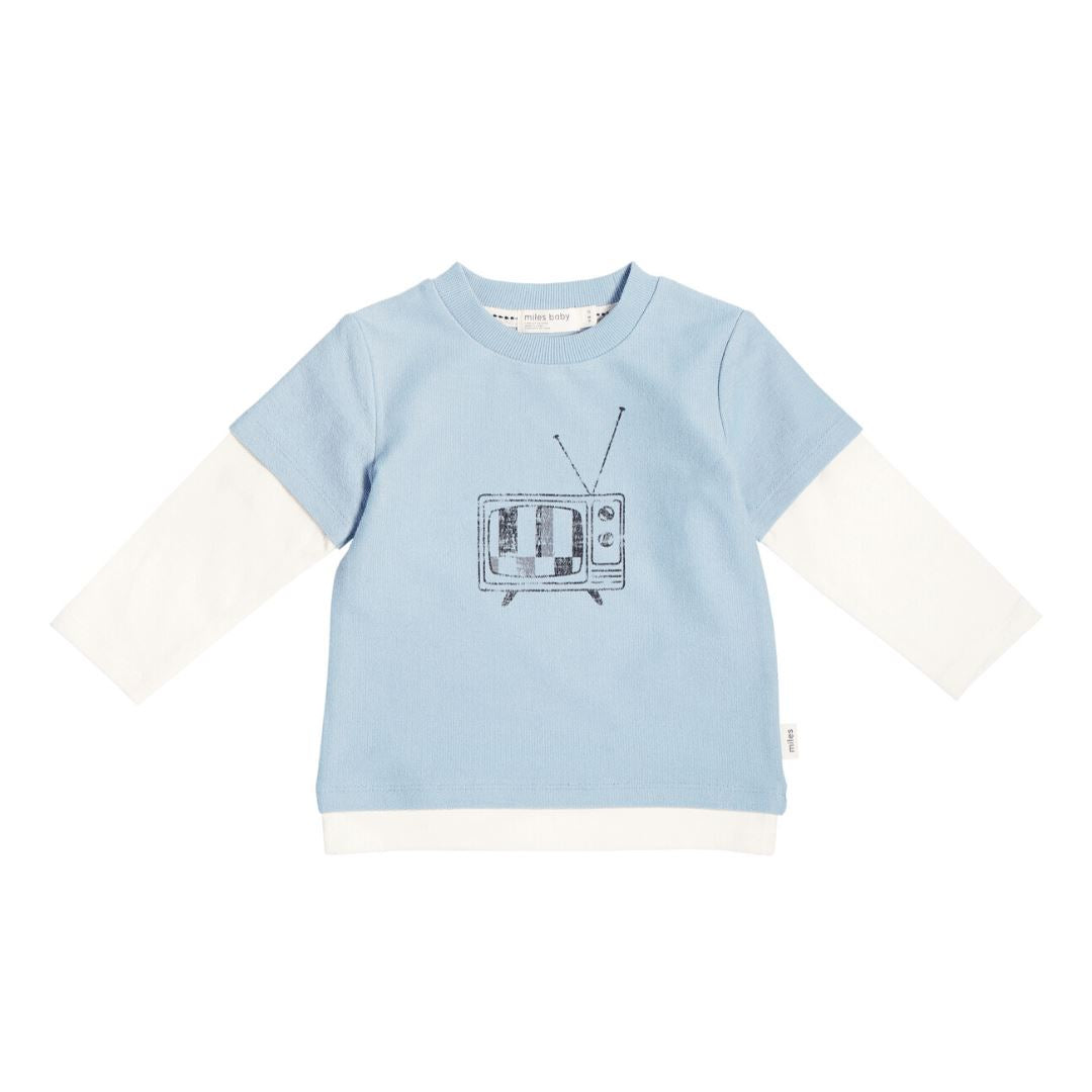 19FM40M665 MILES BABY - Boys Printed Long Sleeve T - Light Blue Long Sleeve Shirts Miles Baby