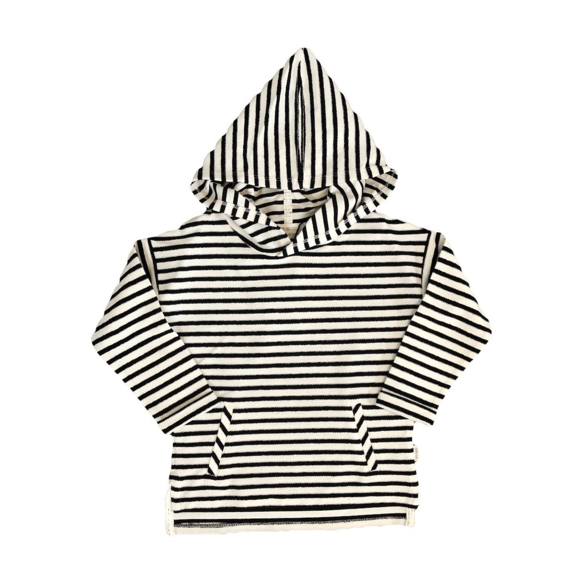 19FM40M670 MILES BABY - Boys Hooded Terry Sweatshirt - Black/White Stripe Long Sleeve Shirts Miles Baby