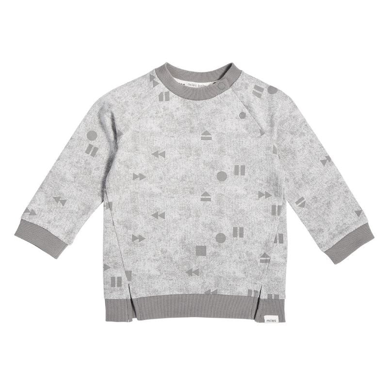 "19FM40M671 - MILES BABY - BABY LIGHT GREY ""PLAY/REPLAY"" CREW NECK SWEATSHIRT Sweatshirt Miles Baby"