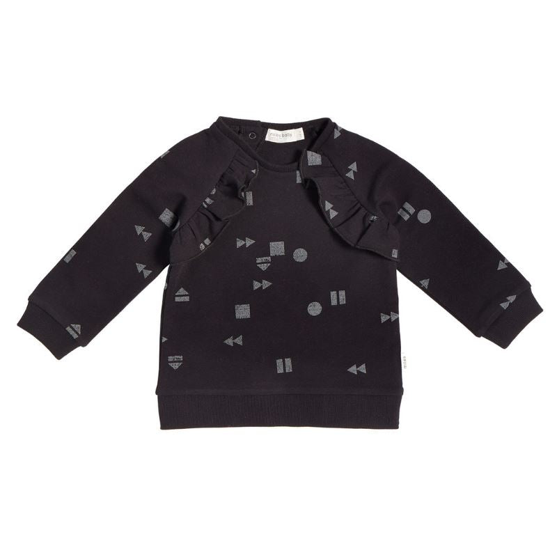 "19FM41M679 - MILES BABY - GIRLS BLACK ""PLAY/REPLAY"" RUFFLED SWEATSHIRT Sweatshirt Miles Baby"