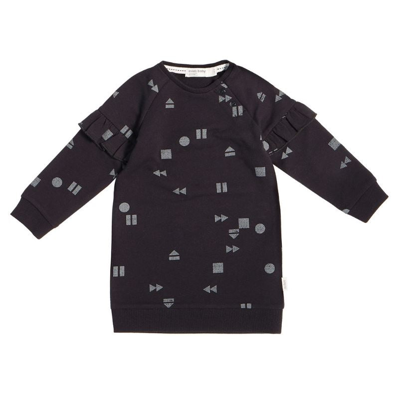"19FM41U812 - MILES BABY - GIRLS BLACK ""PLAY/REPLAY"" SWEATER DRESS Dress Miles Baby"