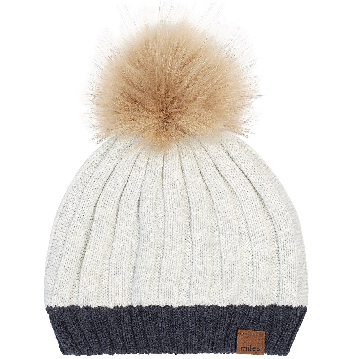 19FM45Y740 - MILES BABY Light Heather Grey Knit Pom Pom Hat Winter Hat Miles Baby