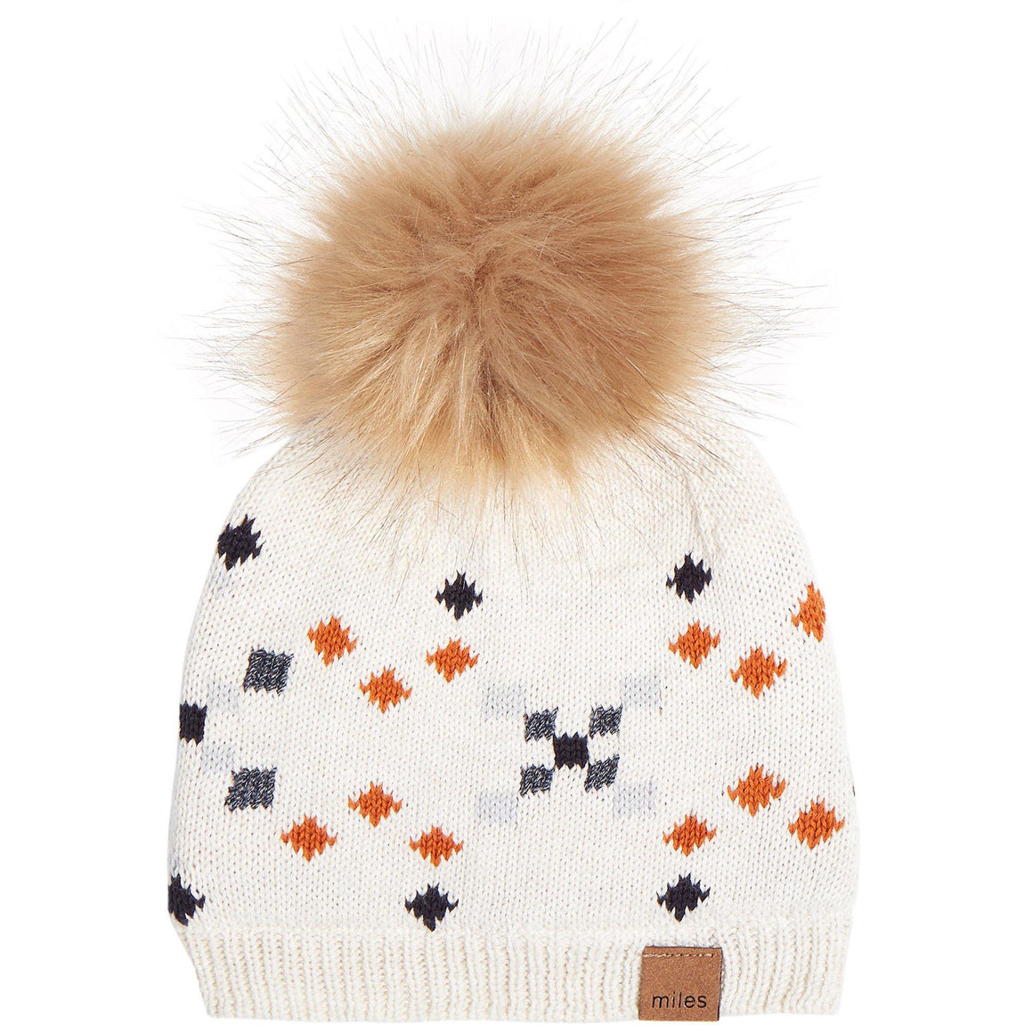 19FM46Y705 - MILES BABY Heather Beige Knit Pom Pom Hat Winter Hat Miles Baby