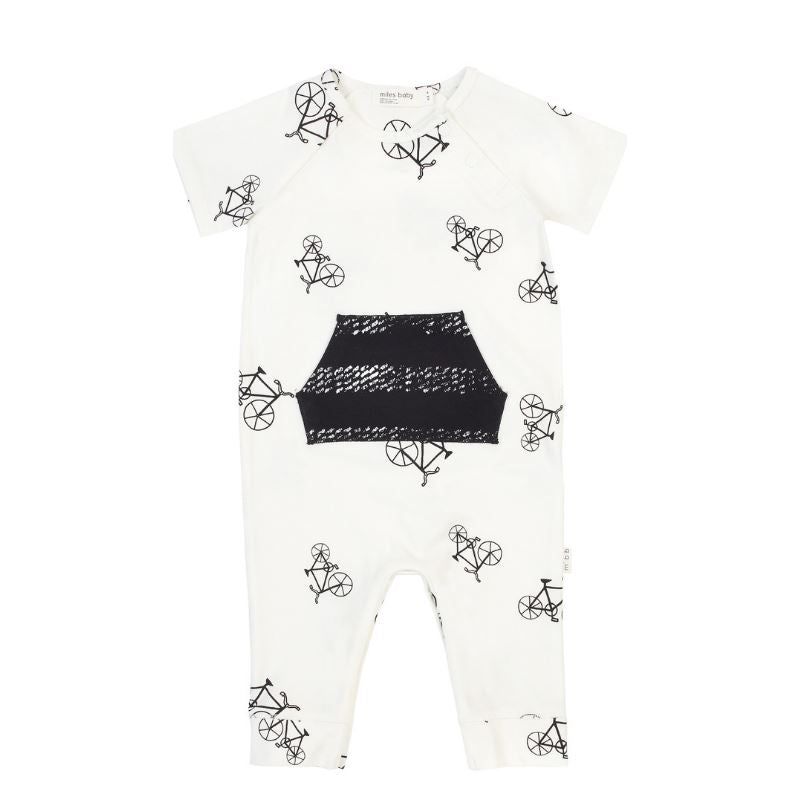 19SM25L537 Miles Baby Off White Bicycles Playsuit Romper Miles Baby