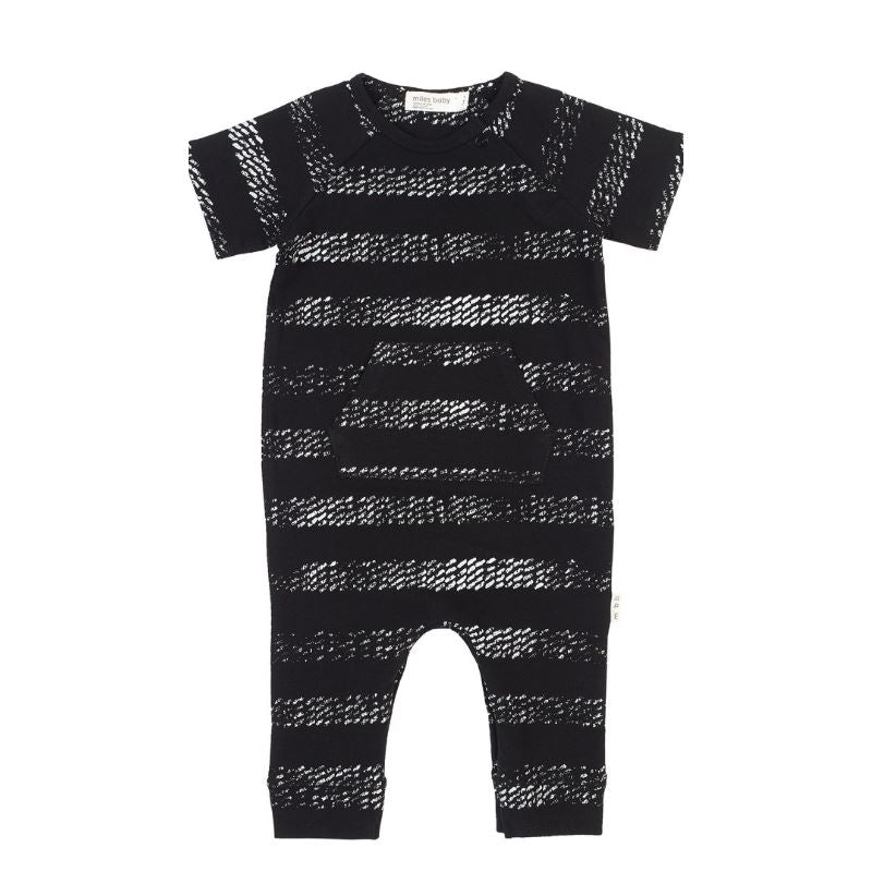 19SM25L645 Miles Baby Black Graphic Playsuit Romper Miles Baby