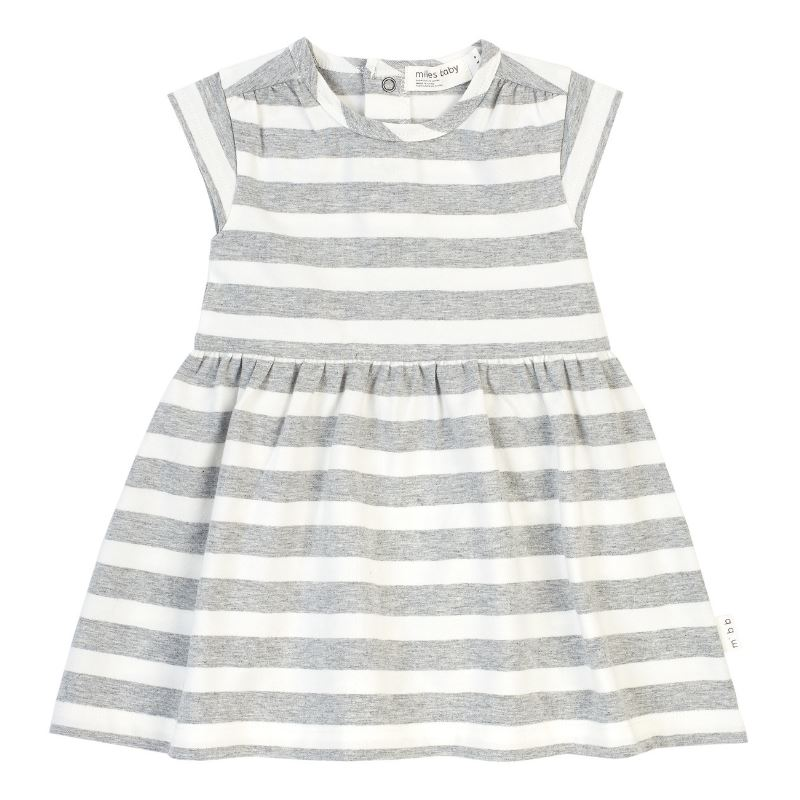 19SM26U535 Miles Light Heather Grey Stripe Girls Dress Dress Miles Baby