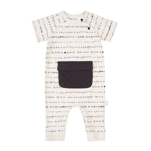 19SM27L553 Miles Baby Beige Graphic Playsuit Romper Miles Baby