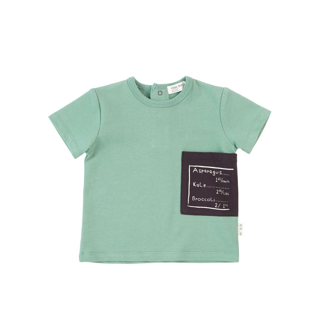 19SM27M549 Miles Baby Green Contrast Pocket Tee Short Sleeve Shirts Miles Baby