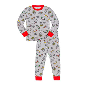 19ST08A878 Petit Lem - Medium Grey Pizza Pajama set (2 pcs.) Pajamas Petit Lem