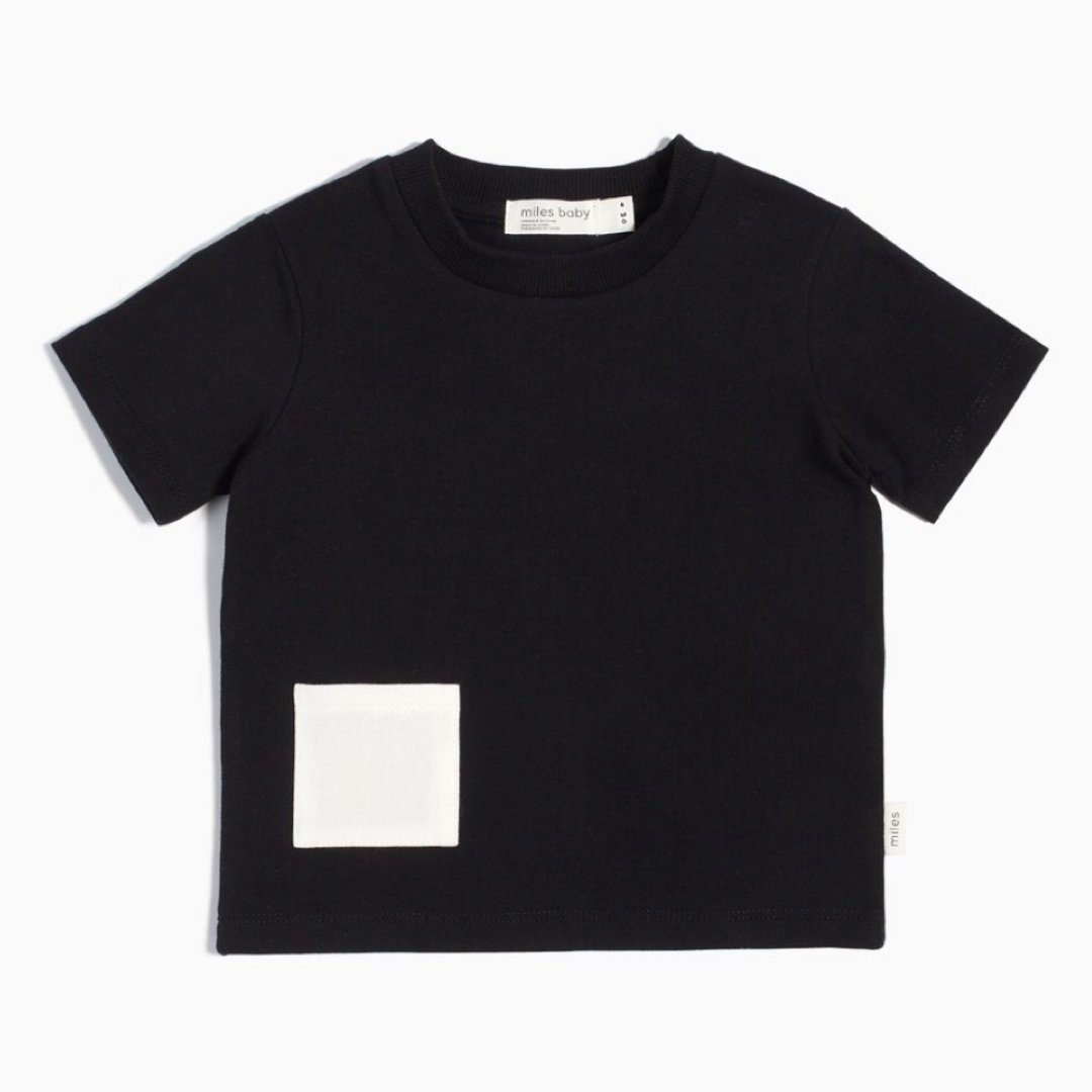 19YM36M617 - Miles Basic Black T-Shirt with Contrasting Patch Pocket Short Sleeve Shirts Miles Baby