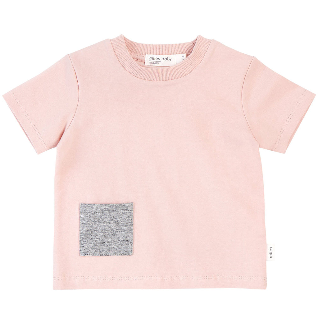 19YM36M620 - Miles Basic Light Pink T-Shirt with Contrasting Patch Pocket Short Sleeve Shirts Miles Baby