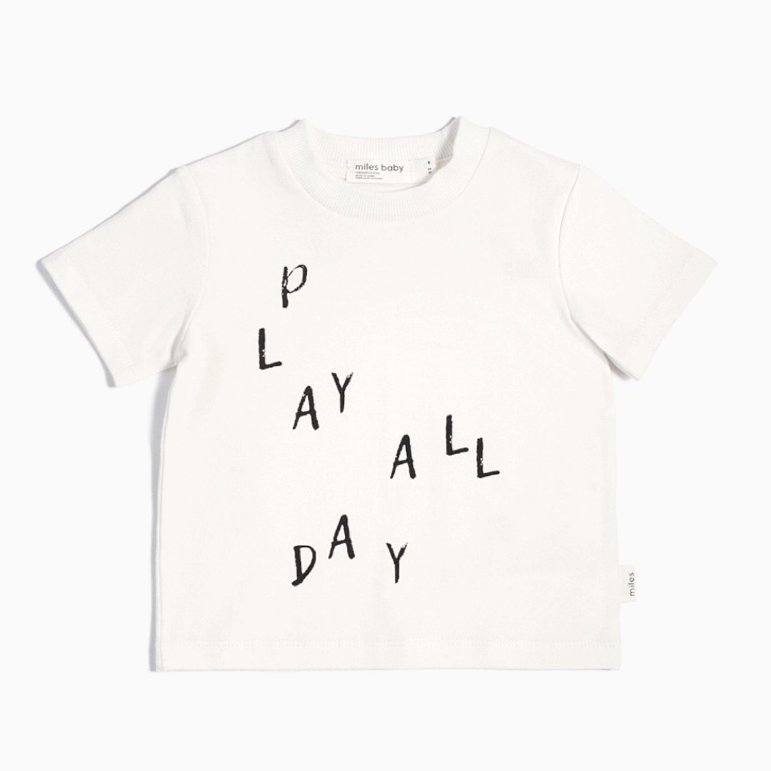19YM36M654 - Miles Basic Play All Day Off White T-Shirt Short Sleeve Shirts Miles Baby