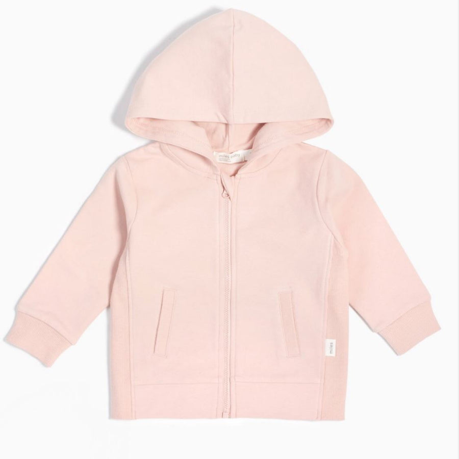 19YM36M826- MILES BABY Light Pink Zip-Up Hooded Sweatshirt Sweatshirt Miles Baby