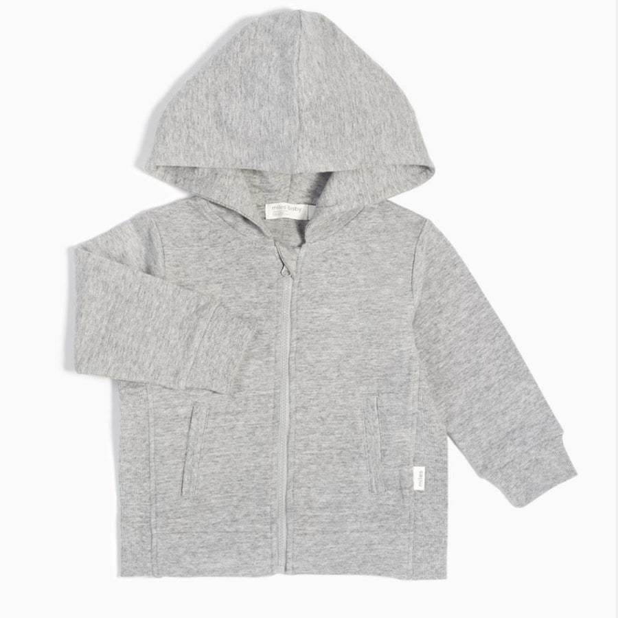 19YM36M827 - MILES BABY Heather Grey Zip-Up Hooded Sweatshirt Sweatshirt Miles Baby