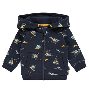 20420312 - Noppies Ashtabula Dark Sapphire Printed Baby Hooded Sweatshirt Sweatshirt Noppies