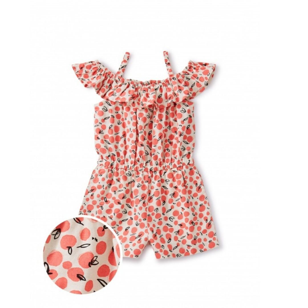20M13500-Y65 Tea Collection Oasis Fruit - Birch Girls Ruffle Romper Romper Tea Collection