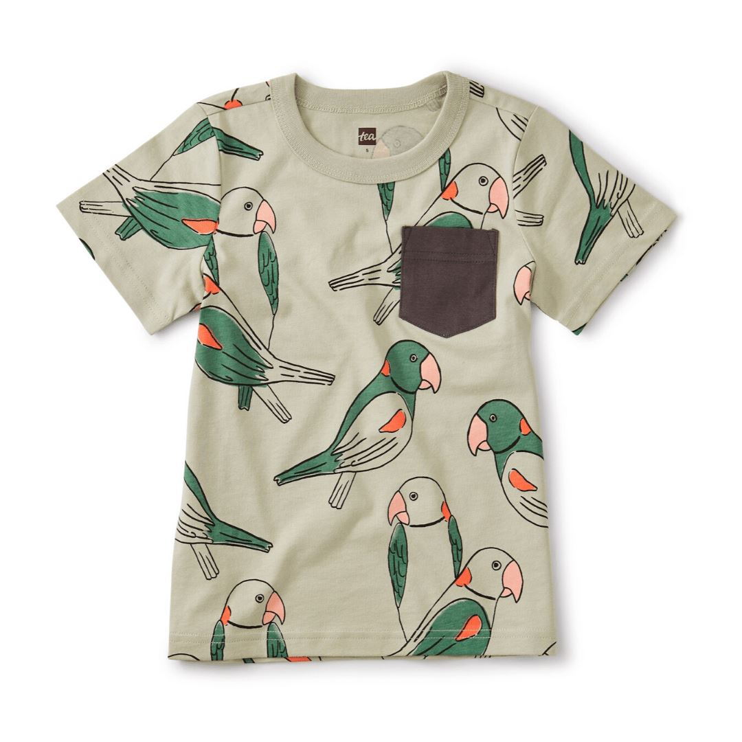 20M22132-Y55 Tea Collection Printed Parakeets Pocket Desert Sage Tee Short Sleeve Shirts Tea Collection
