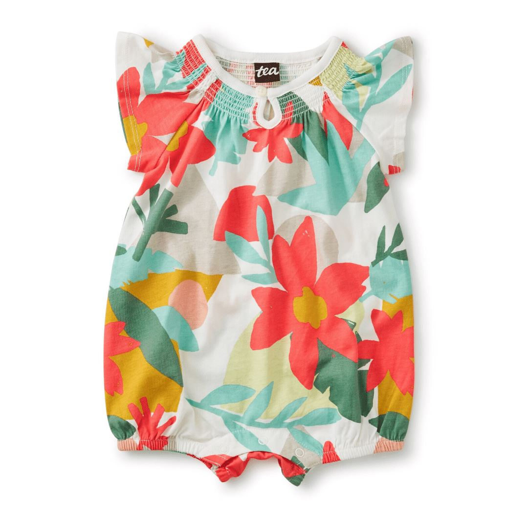 20M32512-Y59 - Tea Collection Oasis Floral Baby Girls Smocked Romper Jumpsuits / Rompers Tea Collection