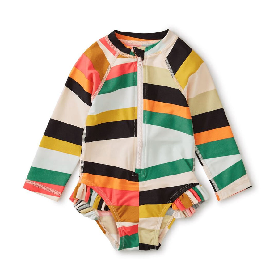 20M32601-Y88 - Tea Collection Chevron Rug Baby Girls Rash Guard One Piece Bathing Suit Swimwear Tea Collection