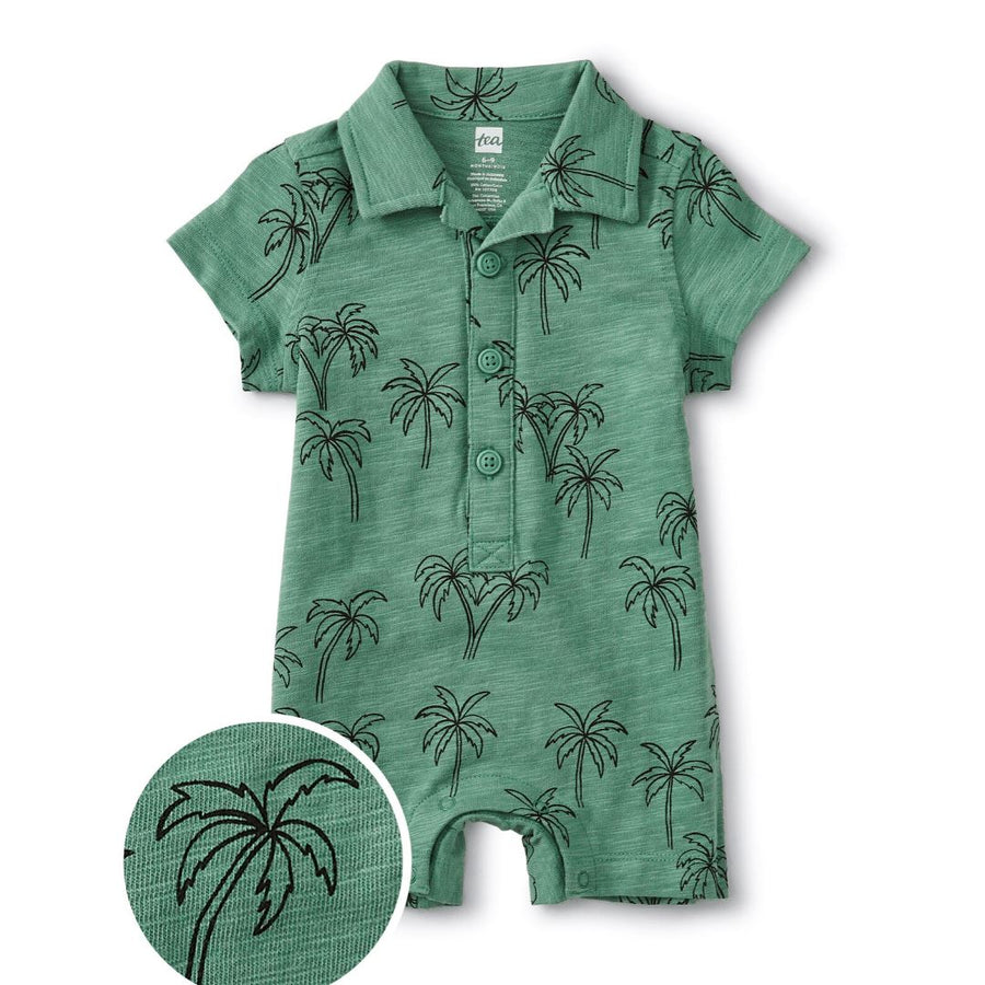 20M42500-Z92 - Tea Collection Camp Collar Palm Trees Romper Jumpsuits / Rompers Tea Collection