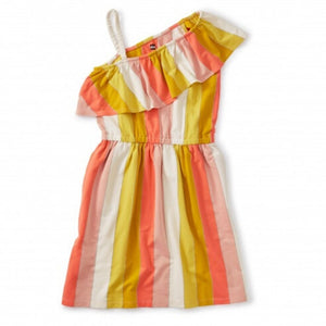 20M82303-581 Tea Collection Girls Dusty Coral Metallic Ruffle Shoulder Dress Dress Tea Collection
