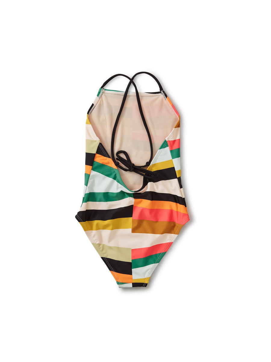 20M82601-Y88 - Tea Collection Rug Chevron Cross Back One-Piece Girls Bathing Suit Swimwear Tea Collection