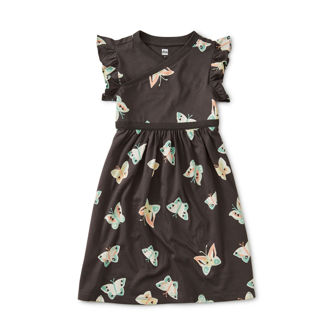 20S12317-Y42 Tea Collection Butterfly Girls Wrap Neck Dress Dress Tea Collection