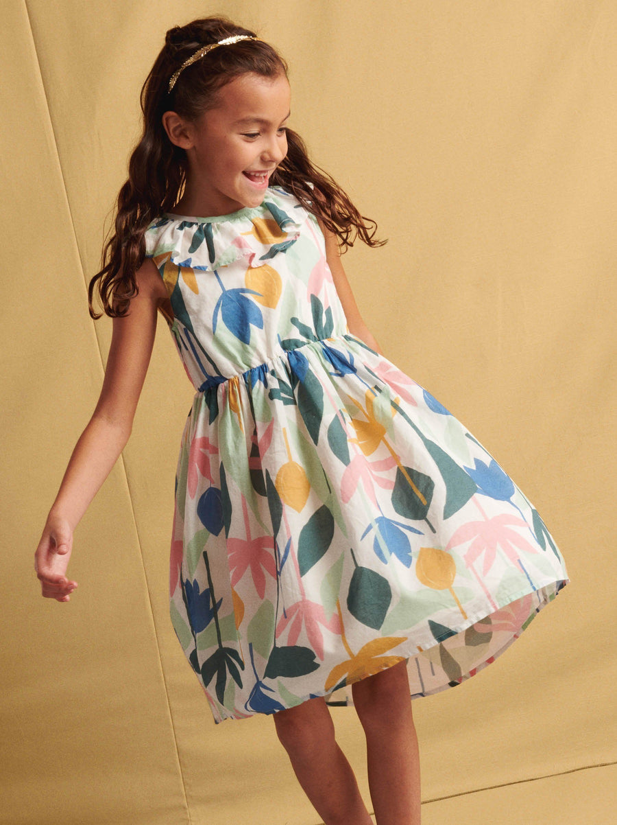 20S13313-Y53 Tea Collection Egyptian Floral Ruffle Hi-Lo Dress Dress Tea Collection