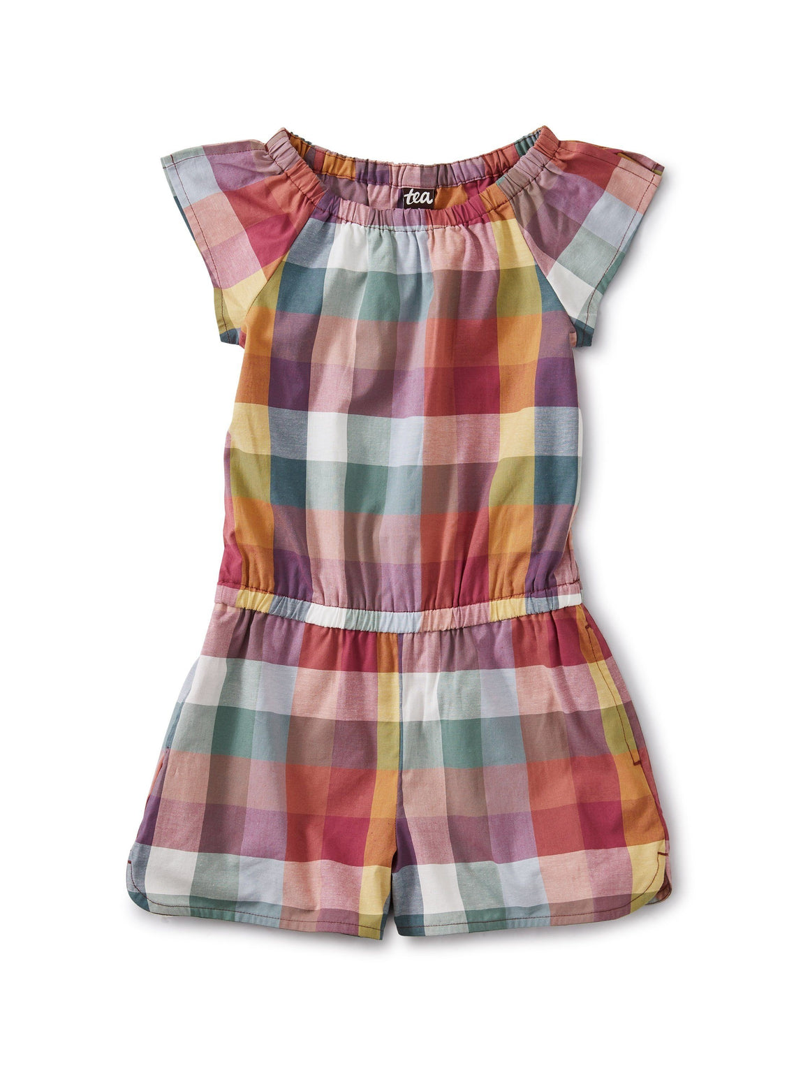 20S13501-Z90 Tea Collection Suez Plaid Girls Flutter Romper Romper Tea Collection
