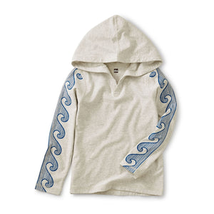 20S22124-010 Tea Collection Wave Sleeve Happy Hooded Sweatshirt Sweatshirt Tea Collection