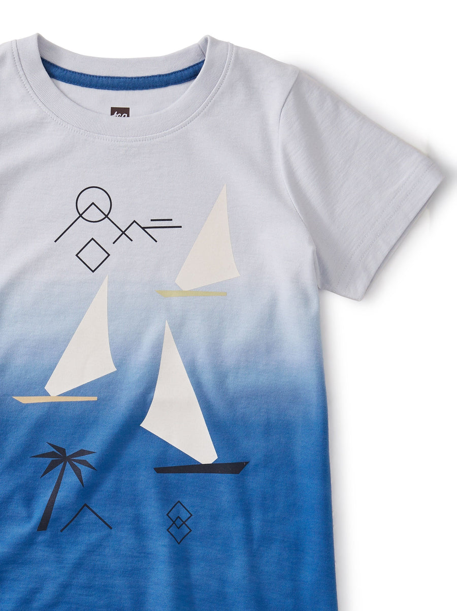 20S22136-471 Tea Collection Dip Dye Sail Away Boat Tee Short Sleeve Shirt Tea Collection
