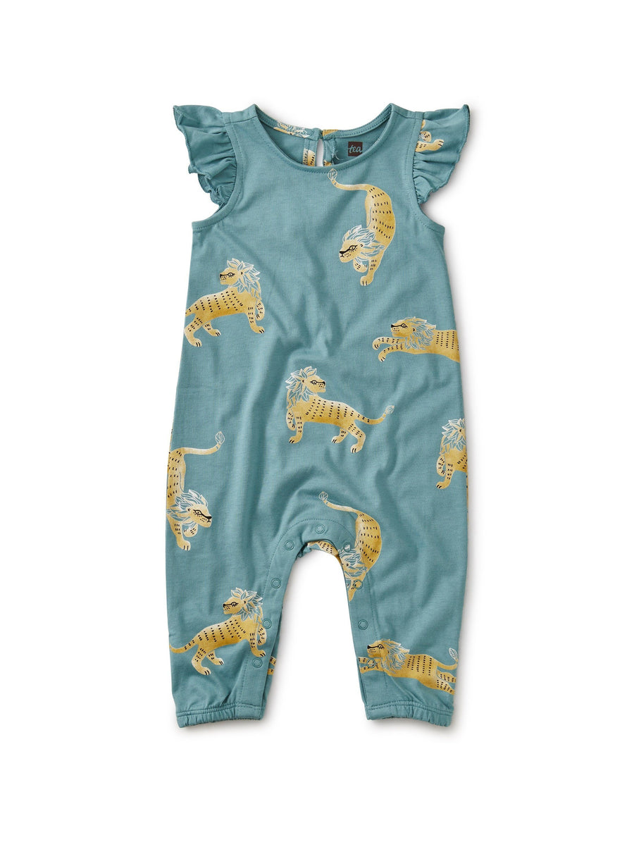 20S32500-Y51 - Tea Collection Barbary Lion Ruffle Sleeve Baby Girls Romper Jumpsuits / Rompers Tea Collection
