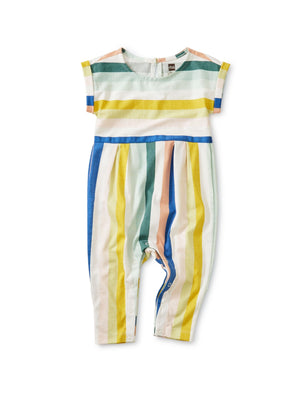 20S32501-061 - Tea Collection Cuff Sleeve Striped Baby Romper Jumpsuits / Rompers Tea Collection