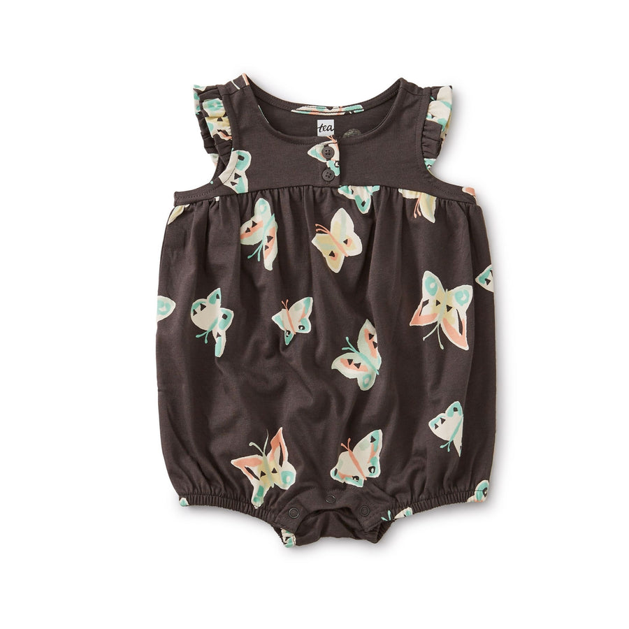 20S32508-Y42 - Tea Collection Butterfly Henley Baby Girls Romper Jumpsuits / Rompers Tea Collection