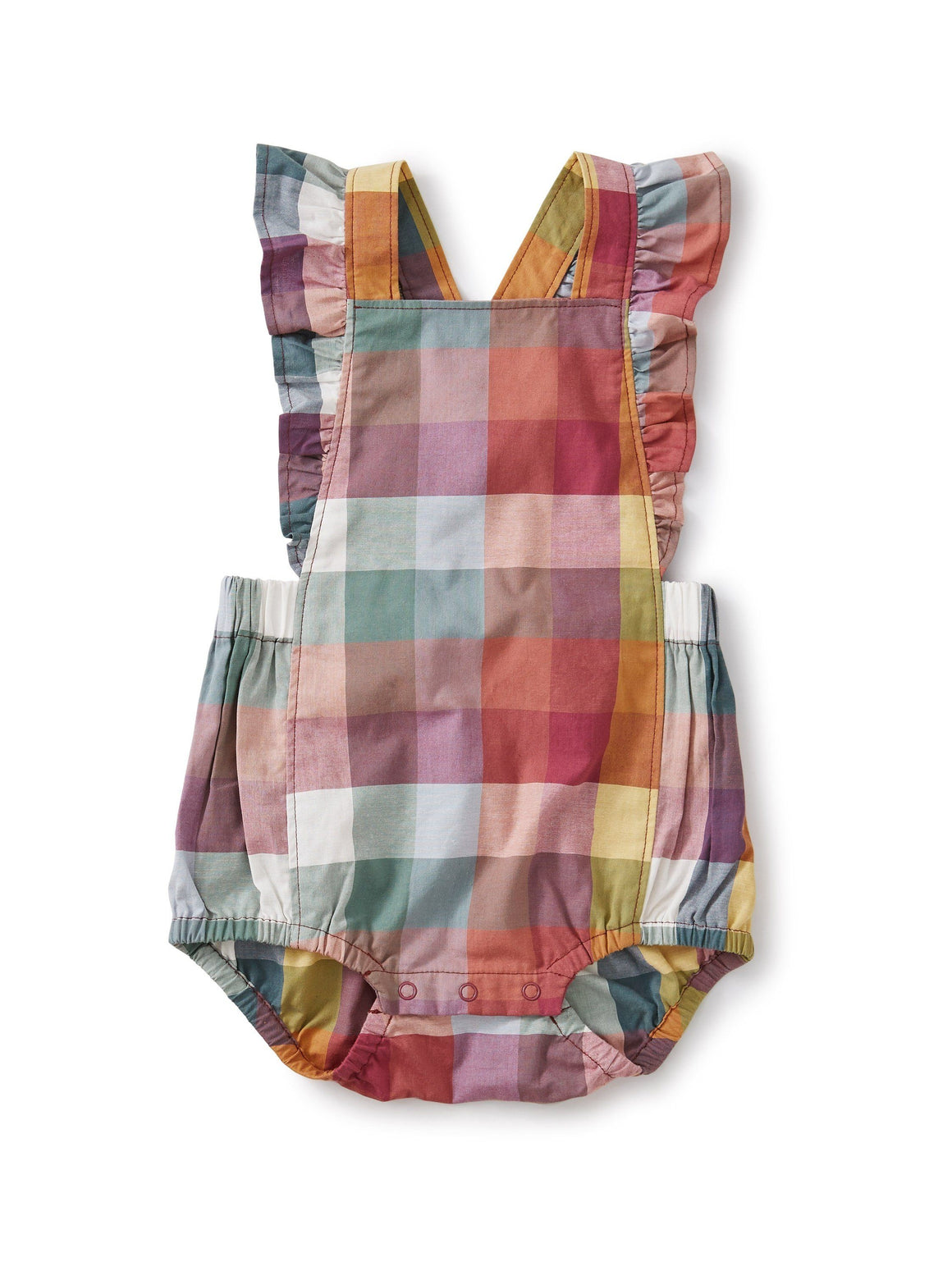 20S33502-Z90 - Tea Collection Ruffle Strap Suez Plaid Baby Girls Romper Jumpsuits / Rompers Tea Collection