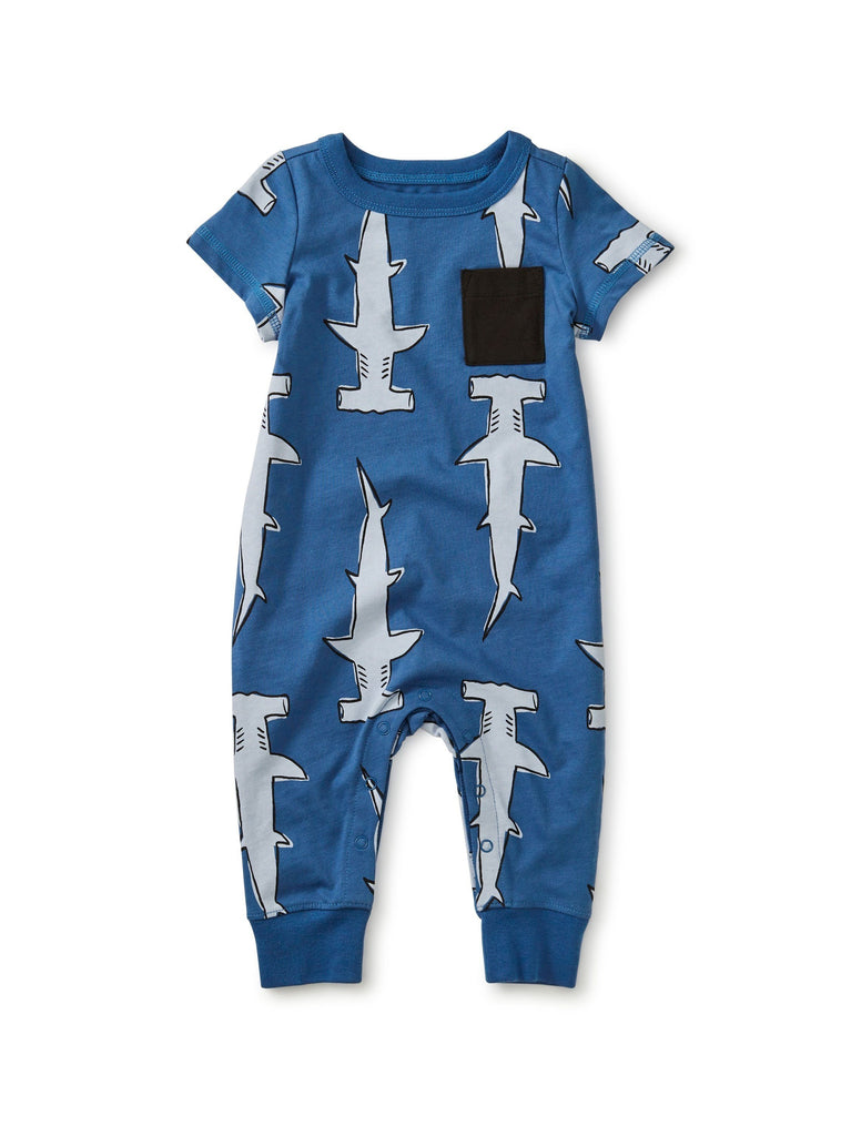 20S42507-Z76 - Tea Collection Hammerhead Cuffed Pocket Baby Romper Jumpsuits / Rompers Tea Collection
