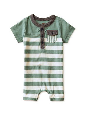 20S42511-B19 - Tea Collection Sagebrush Colorblocked Henley Baby Romper Jumpsuits / Rompers Tea Collection