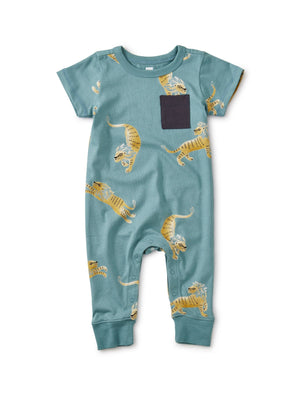 20S42513-Y51 - Tea Collection Barbary Lion Cuffed Pocket Baby Romper Jumpsuits / Rompers Tea Collection
