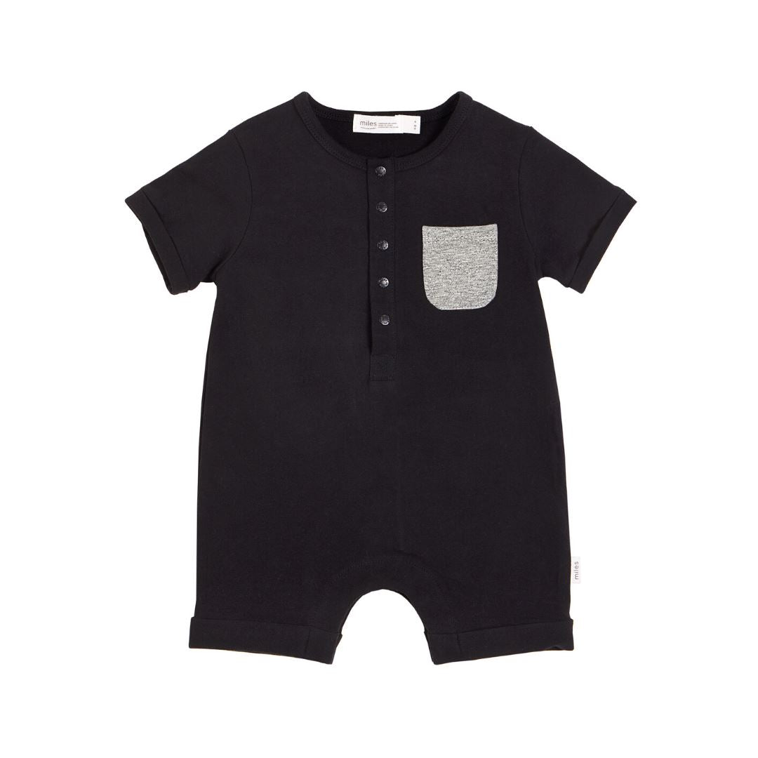 20SMB36320- MILES BABY Basics Short Sleeve Romper - Black Romper Miles Baby 12 months