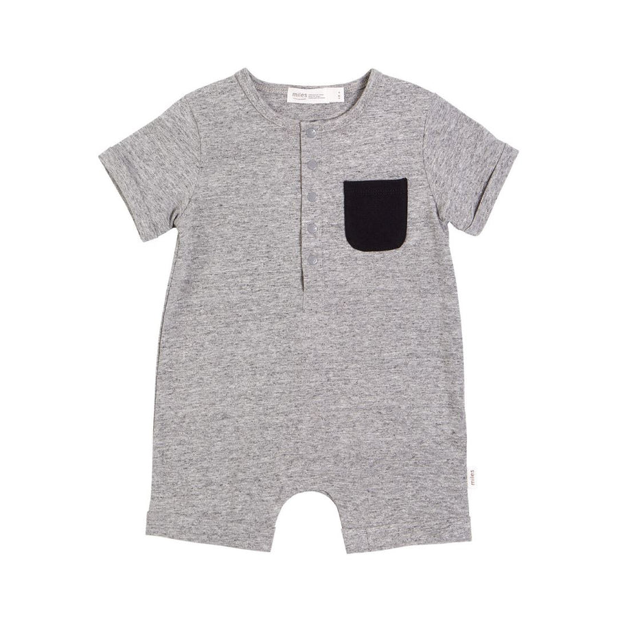 20SMB36321- MILES BABY Basics Short Sleeve Romper - Dark Heather Grey Romper Miles Baby 3 months