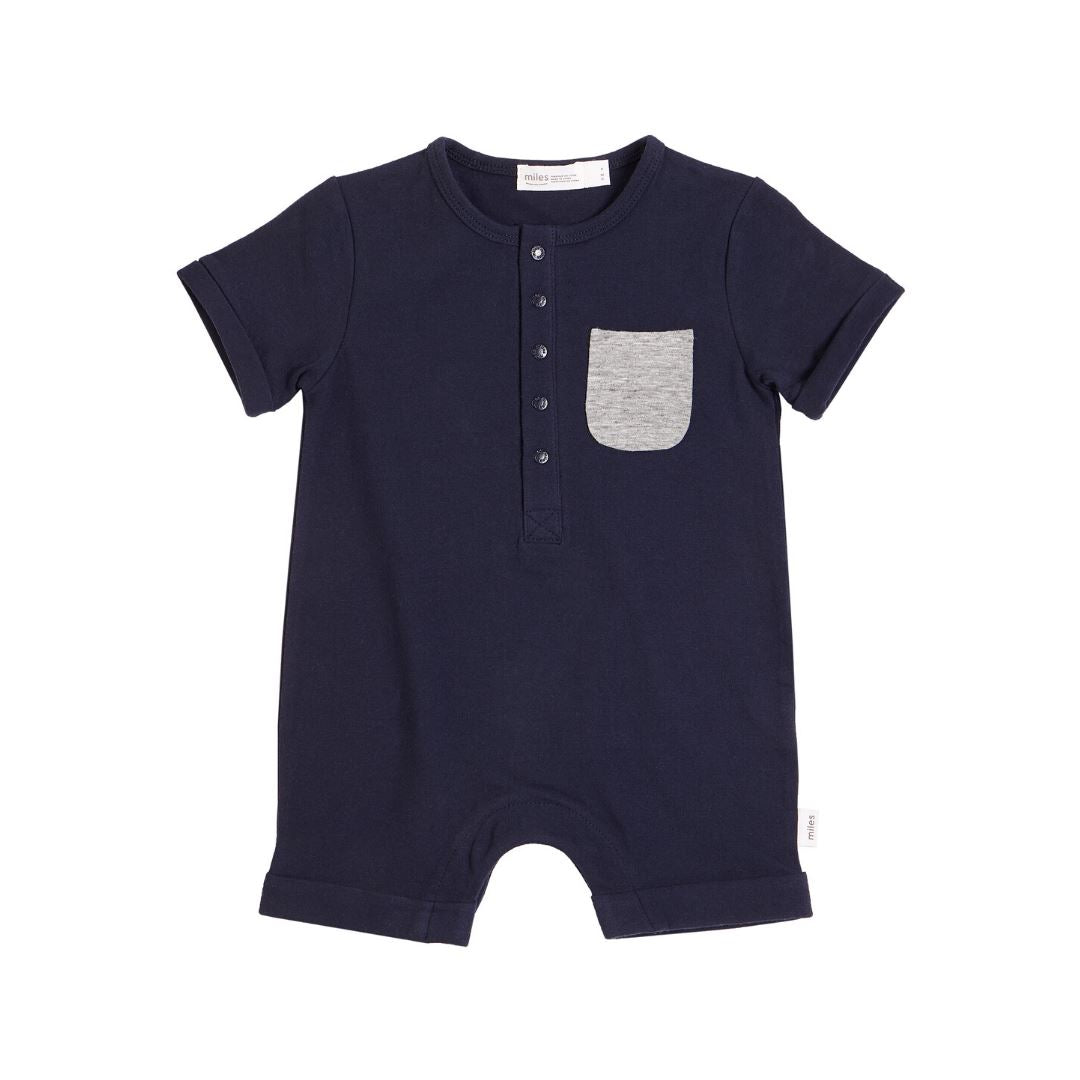 20SMB36322- MILES BABY Basics Short Sleeve Romper - Navy Romper Miles Baby 3 months