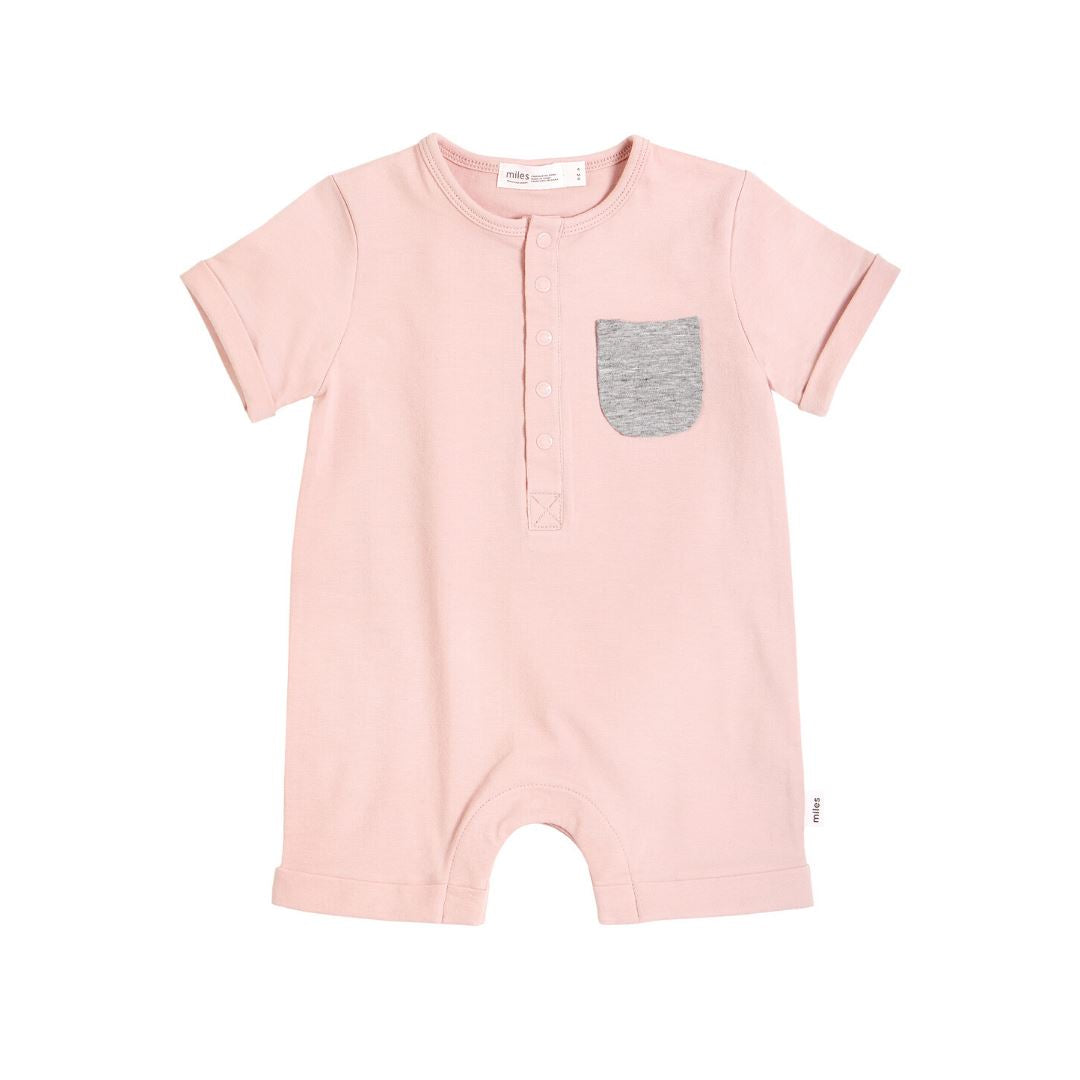 20SMB36323- MILES BABY Basics Short Sleeve Romper - Light Pink Romper Miles Baby 3 months